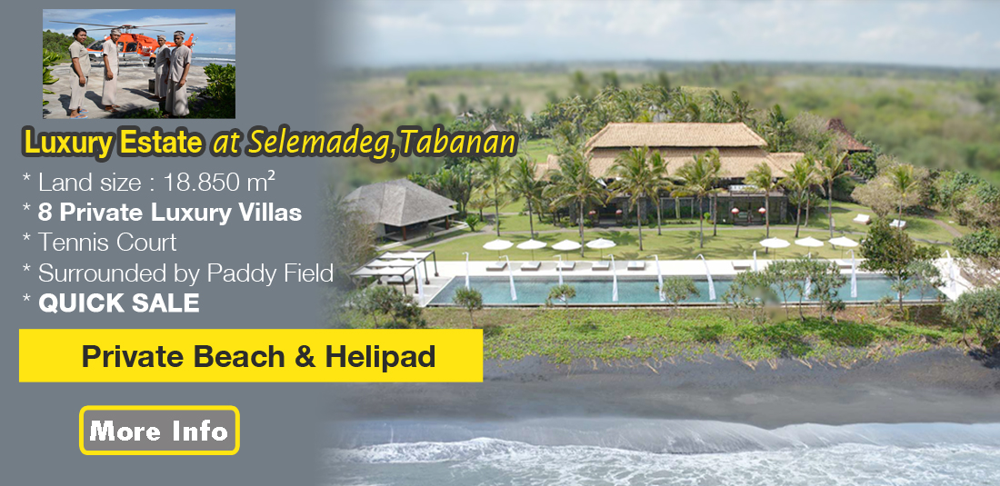 QUICK SALE FREEHOLD BEACH FRONT Luxury Estate in Tabanan